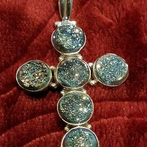 HSN ~ Drusy & 925 Silver, Sparkling Cross Pendant